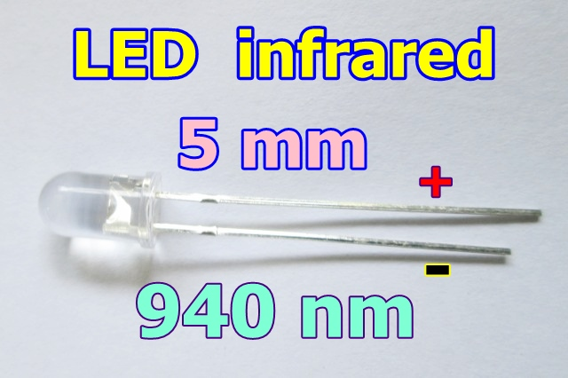 led 5 mm infrared อินฟราเรด  940 nm นาโนเมตร จำนวน 5 หลอด